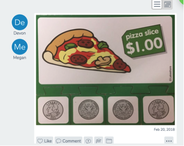 a screenshot from Seesaw showing a pizza and money puzzle with a large puzzle piece showing a pizza slice and the price $1.00; this is above 4 smaller puzzle pieces that each has a quarter dollar coin